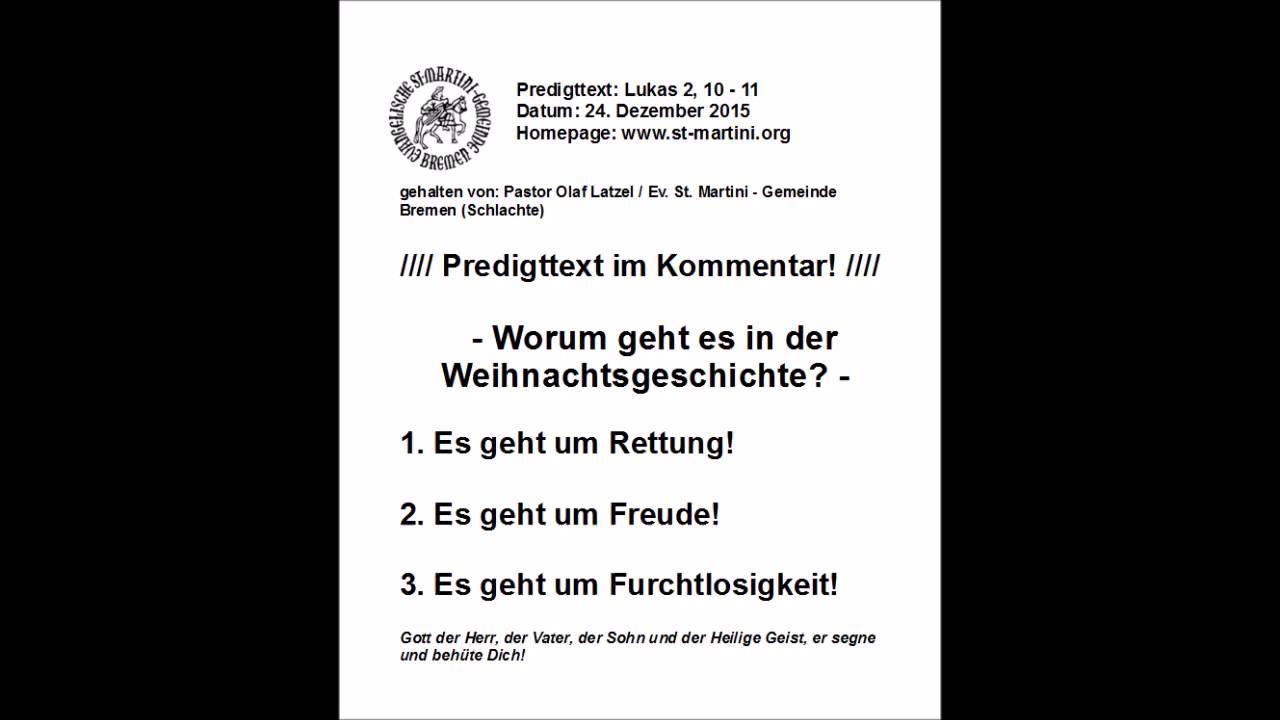 24.12.2015 - Worum geht es in der Weihnachtsgeschichte? - YouTube