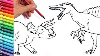 Drawing and Coloring Spinosaur vs Triceratops How to Draw Dinosaur From Jurassic Park Color Pages