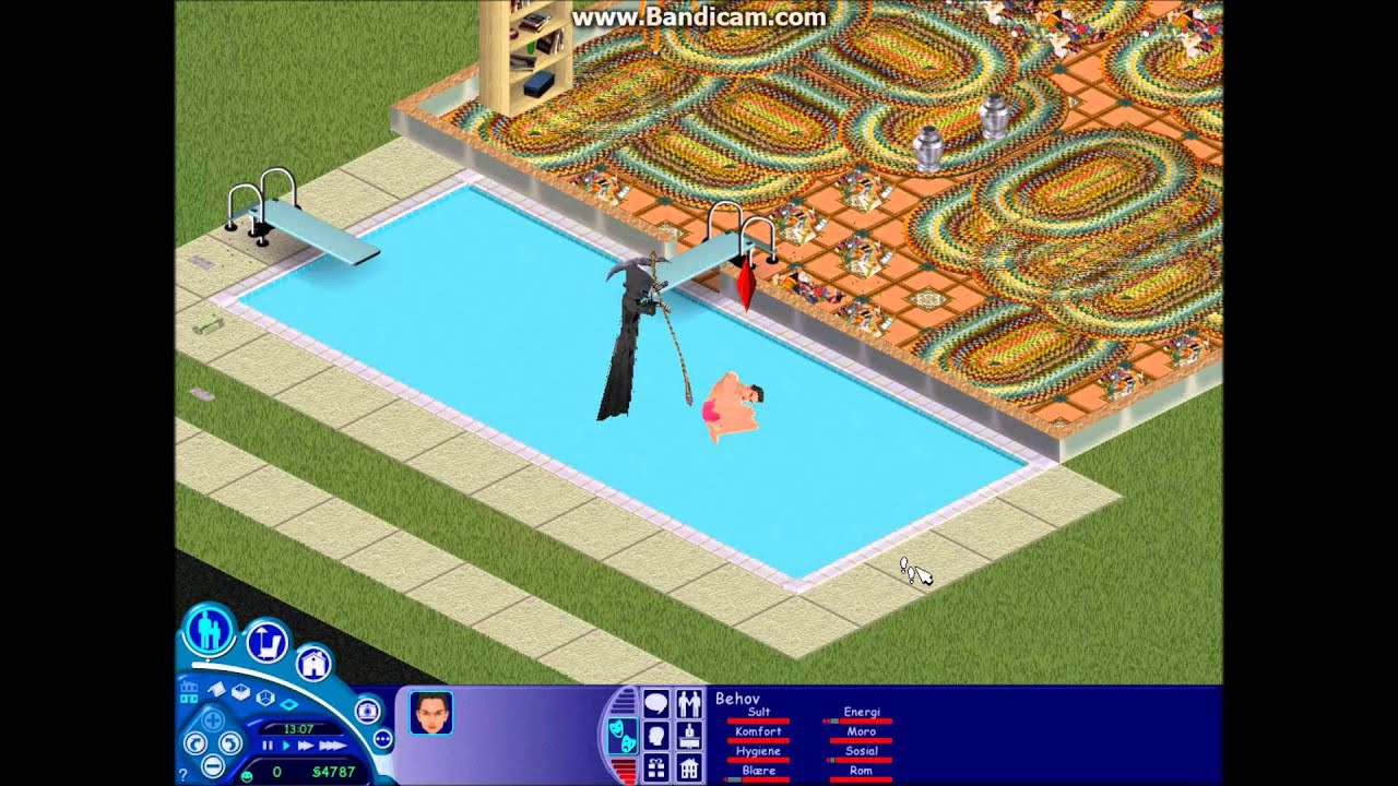 the sims 1 grim reaper in the swimming pool youtube. Black Bedroom Furniture Sets. Home Design Ideas