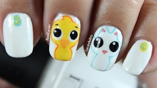 Easter Nail Art *cute Chick And Bunny*