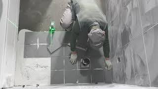 욕조놓은 욕실 바닥타일 습식시공(줄눈맞춤:200*200…