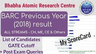 BARC Previous Year Result Analysis and Cutoff 2018 | BARC Chemical | All streams
