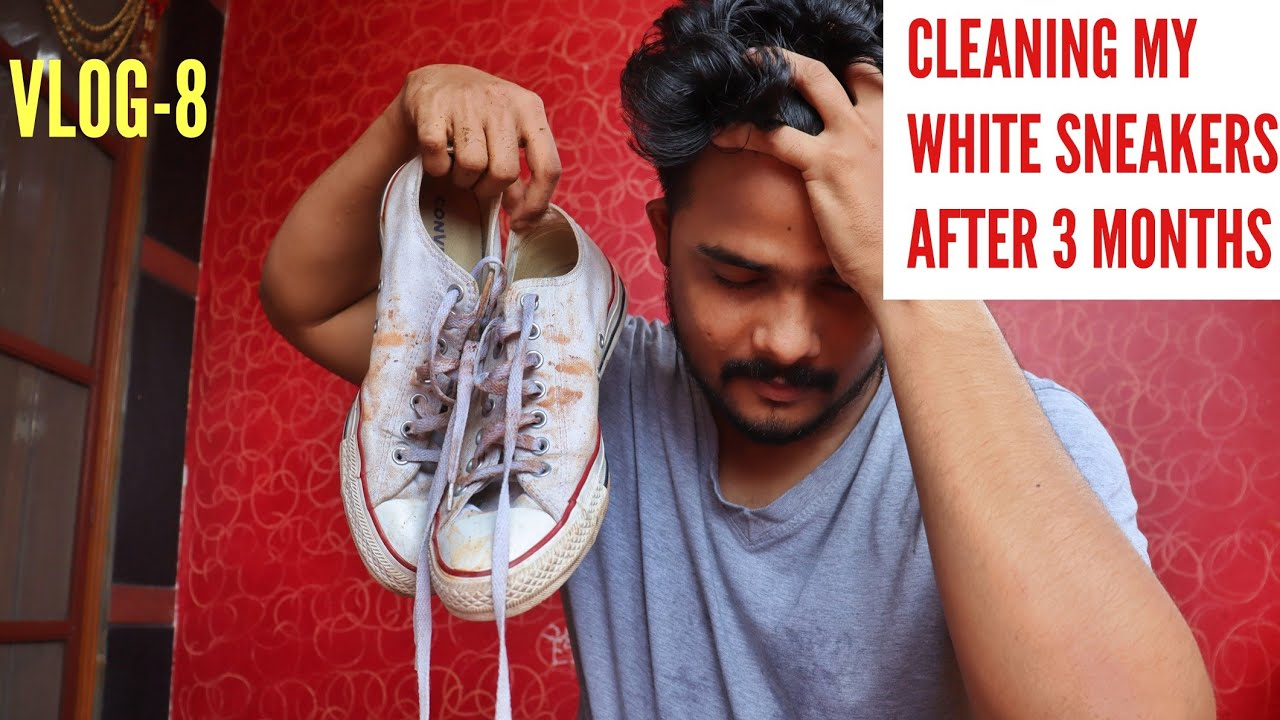 I Cleaned My WHITE SNEAKERS After 3 MONTHS ( Went Wrong!)   How To Clean White Sneakers   VLOG-8