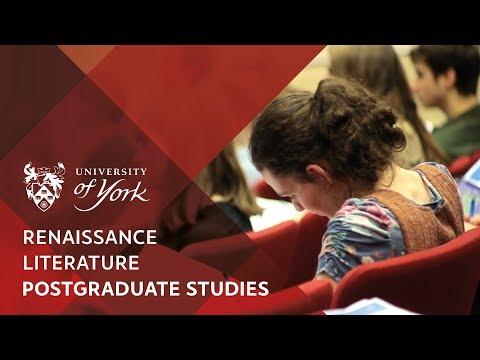 Postgraduate studies in Renaissance Literature at the University of York