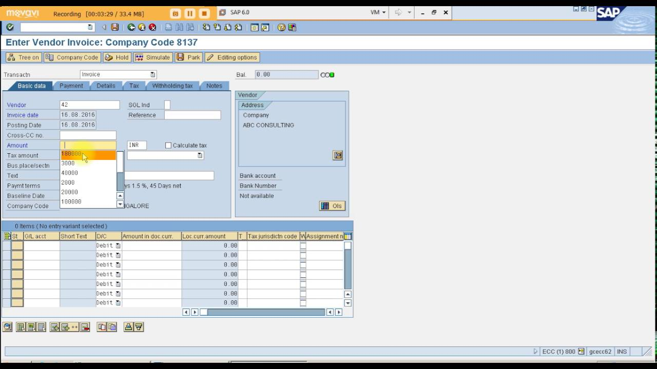 SAP FICO LIVE PROJECT TDS - WITHHOLDING TAX