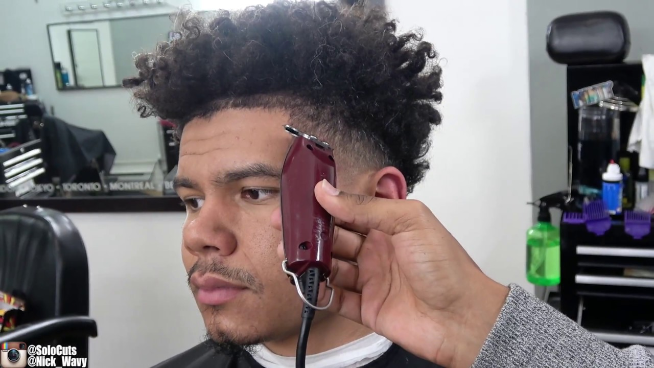 Nick Wavy Curly Taper Fade Haircut Tutorial Youtube