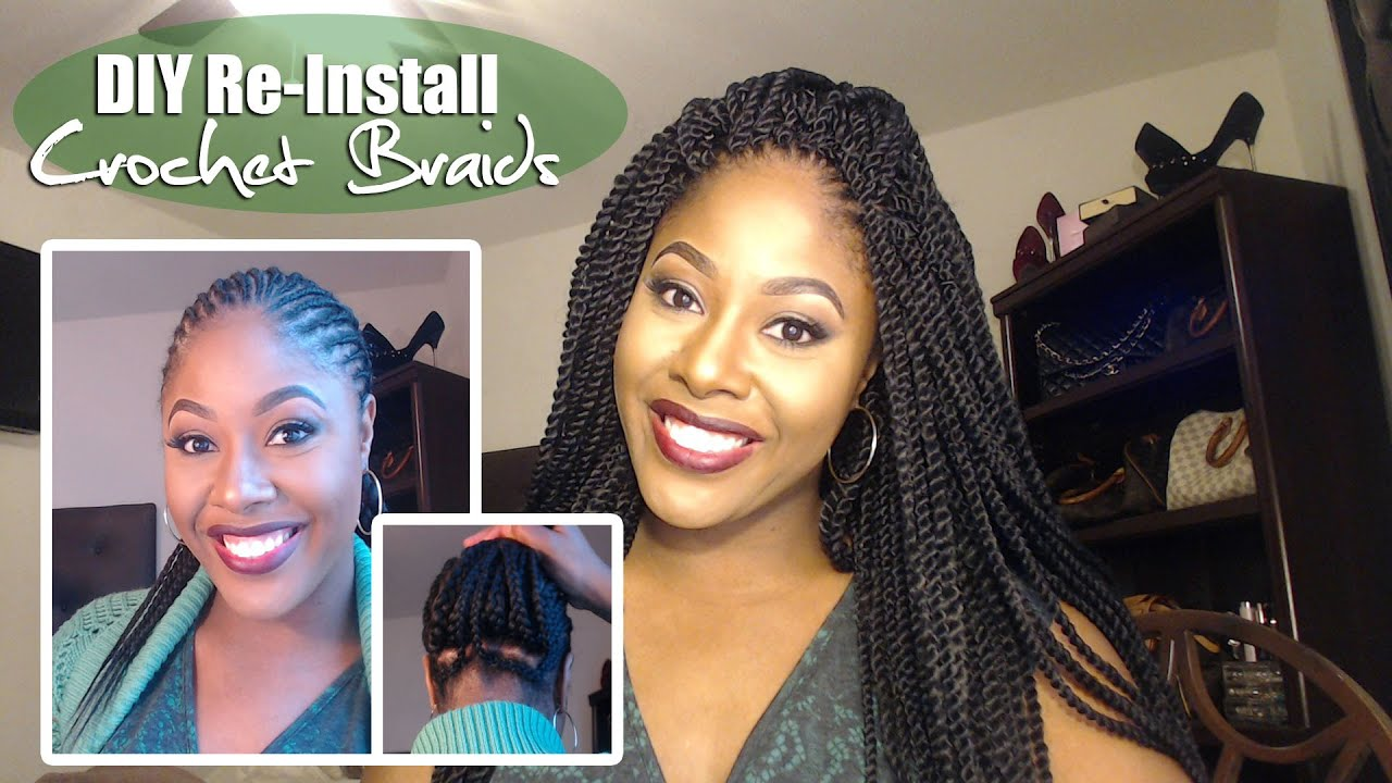How To DIY CROCHET BRAIDS REINSTALL Braid Pattern Explained - Diy braid pattern