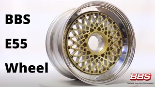 Get an up close view of the iconic BBS E55 Wheel! The E55 is a classic basket weave design from 70's and 80's for many vintage center lock applications. The centers can use 15-inch flat rims as well as 16- and 17-inch regular drop center wheel diameters.