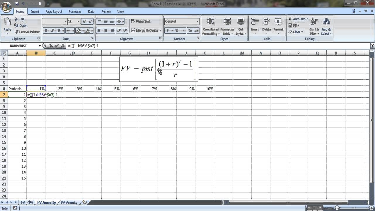 constructing pv and fv tables in excel youtube