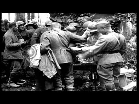 US 1st Division troops process German prisoners following the Battle of Cantigny ...HD Stock Footage