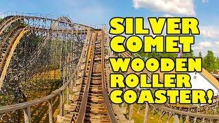 Silver Comet Wooden Roller Coaster Handheld Front Seat POV Martins Fantasy Island Amusement Park