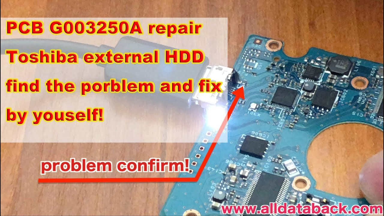 PCB G003250A repair Toshiba external HDD data recovery