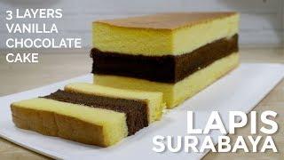 LAPIS SURABAYA LEMBUT (FULL KUNING TELUR)  3 LAYERS SOFT VANILLA CHOCOLATE CAKE