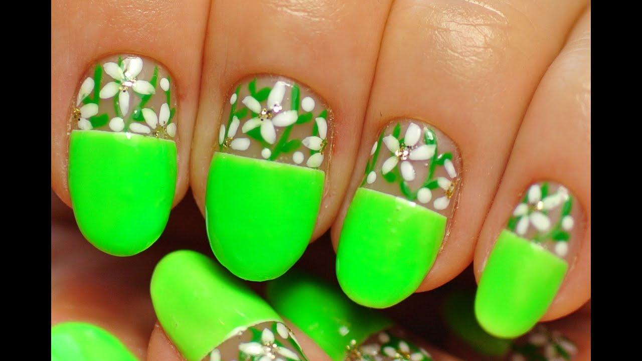 Nail Art. Neon Nails. White Flowers. - YouTube