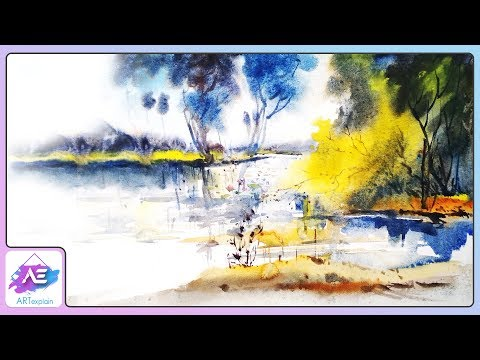 Watercolor Landscape Painting Forest | How to paint a watercolor landscape | Art Explain