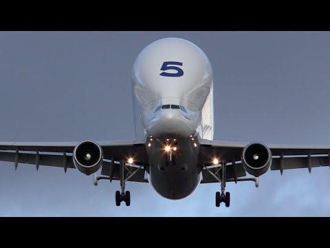 Airbus A300-600ST Beluga landing at Hawarden