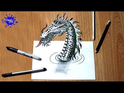 Como dibujar un Dragon 3D l how to draw a dragon 3D  YouTube