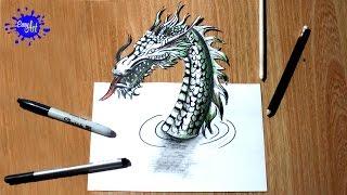 Como dibujar un Dragon 3D l how to draw a dragon 3D