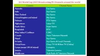 ICC World Cup 2015 Live Broadcasting TV Channels around the world