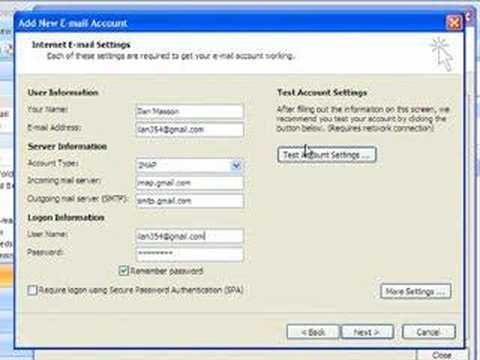 How to settings up google mail in outlook 2007