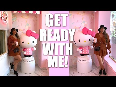GRWM: MAKEUP, OUTFIT, HAIR - HELLO KITTY GRAND CAFE + BOW ROOM!