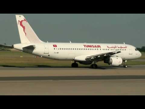 A320 Tunisair (TS-IMF) Line Up, Take Off At Lyon St Exupéry (LYS/LFLL)