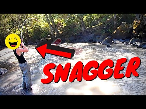 Salmon Snagger BUSTED At River!!! ILLEGAL FISHING