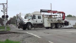 BNSF Hi-Rail Truck Gets on Track at Batavia, Iowa