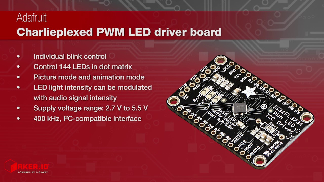 Adafruit IS31FL3731 Matrix LED Driver Breakout Board | Maker Minute