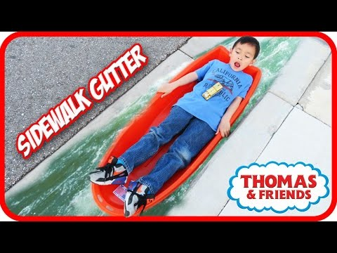 Thumbnail: LAZY KID Go Down SIDEWALK Gutter with Gold Thomas and Friends Accidents Will Happen
