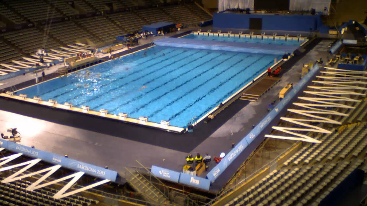 Palau sant jordi pool assembly bcn2013 youtube for Piscina sant jordi