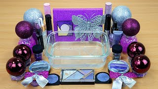 PURPLE Metallic SL ME Mixing makeup and glitter into Clear Slime Satisfying Slime Videos