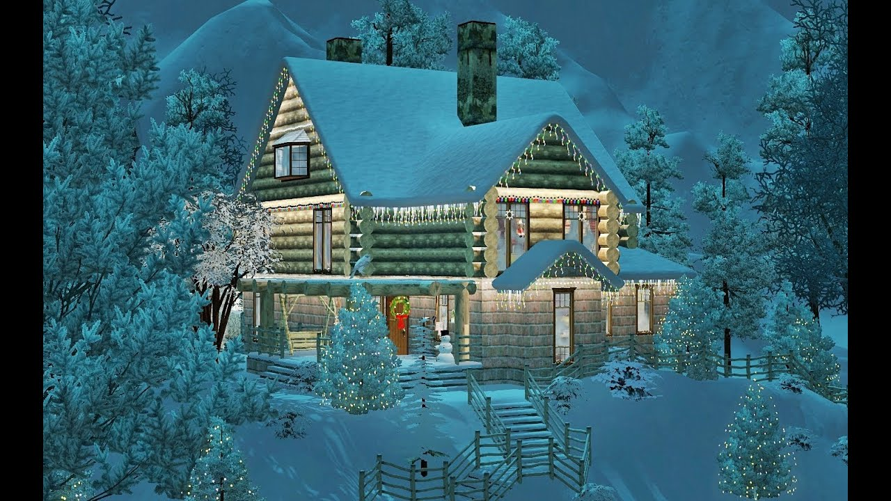 Sims 3 Christmas Dream Log House Featuring Julia Engel