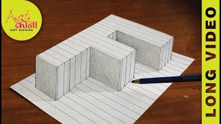How To Draw 3d Raising letter F - 3D Illusion - Very Easy 3D Trick Art paper - LONG VIDEO -