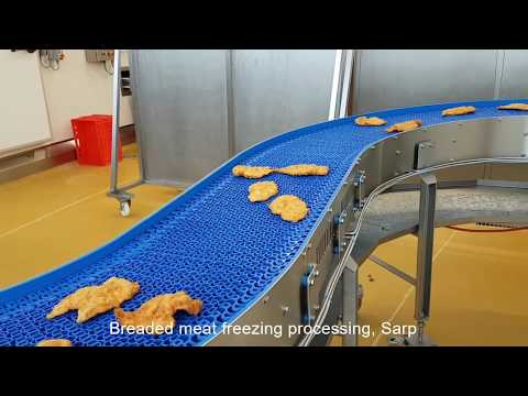 Breaded meat freezing processing