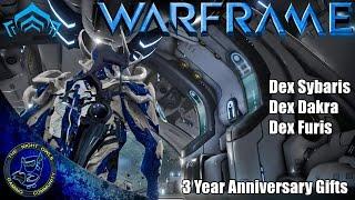 Warframe: 3 Year Anniversary Gifts | Dex SYBARIS, Dex DAKRA, Dex FURIS
