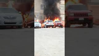 CARS CAUGHT FIRE FOR HIGH TEMPERATURE IN KUWAIT CITY