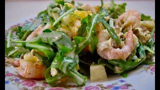 Легкий салат с креветками!