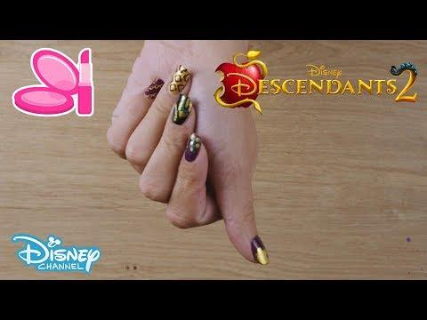 Descendants 2 | Mal's Nail Art Tutorial | Official Disney Channel UK thumbnail