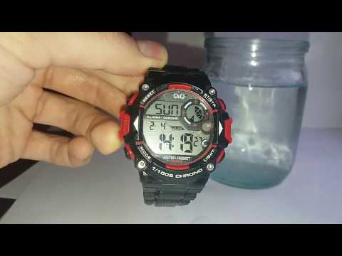 Water Resistant 10 bar Q&Q M146J003Y test under the water from 1 hour