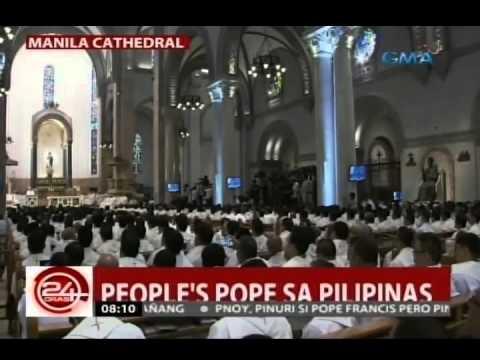 24Oras: Pope Francis, nagbiro sa umpisa ng kanyang homily sa Manila Cathedral