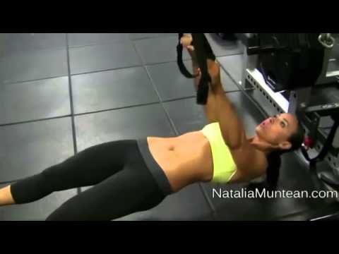 Top Fitness Model Natalia Muntean shows TRX Inverted Pull Up