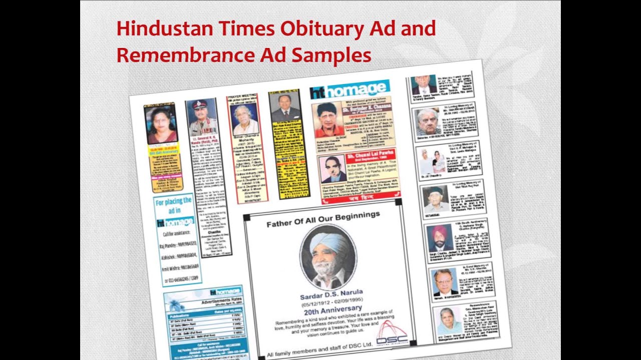 Remembrance Advertisement | Hindustan Times Remembrance and Obituary Ad  Rates