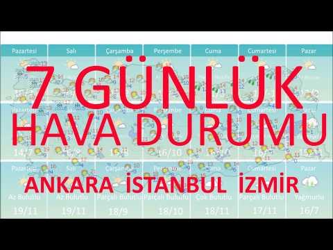 HAVA DURUMU 7 Günlük Ankara İstanbul İzmir