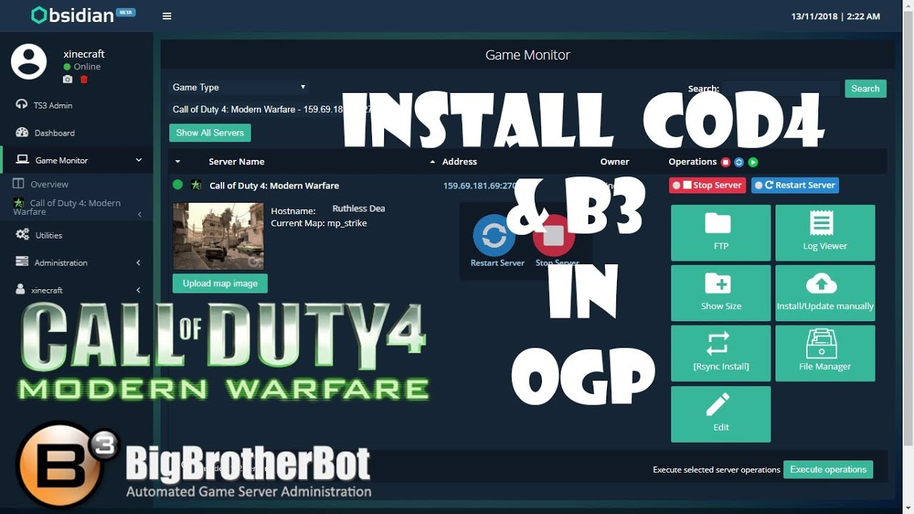 How to install COD4 and B3 in Open Game Panel (OGP)