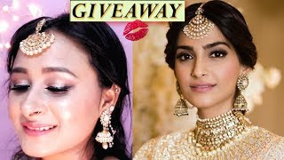 Sonam Kapoor SANGEET / MEHNDI inspired makeup Tutorial | Wedding Makeup Tutorial | Giveaway