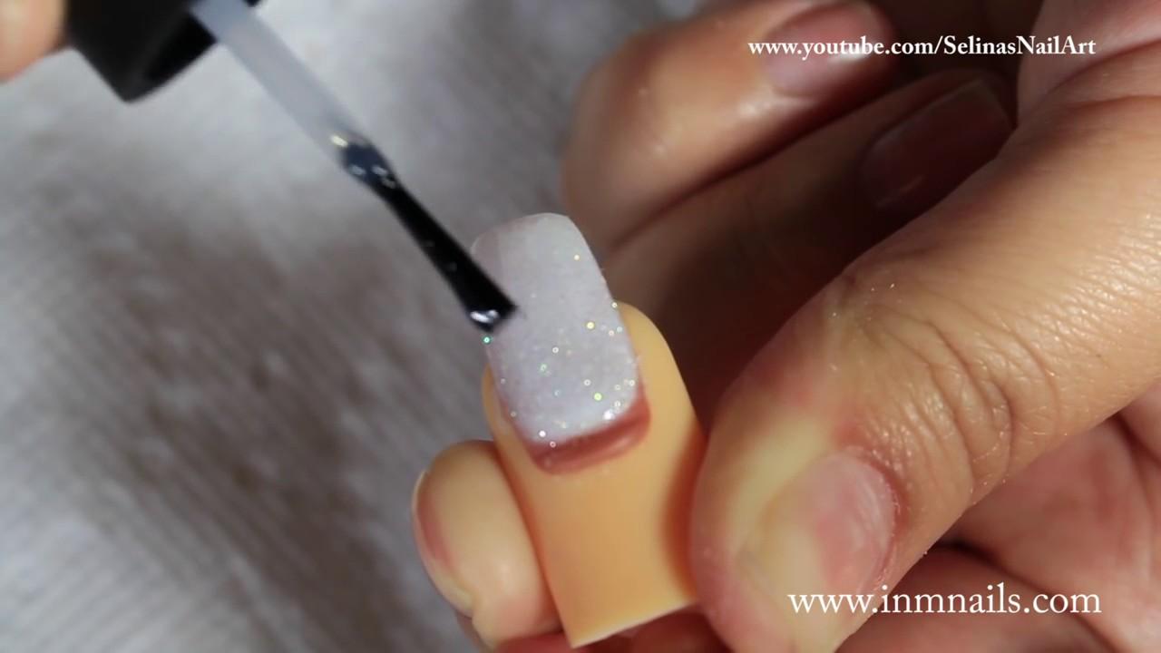INM Acrylic White Glitter Nail & Pretty 3D Flowers - YouTube