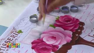 Pintura em tecido com uso de stêncil por Ana Laura