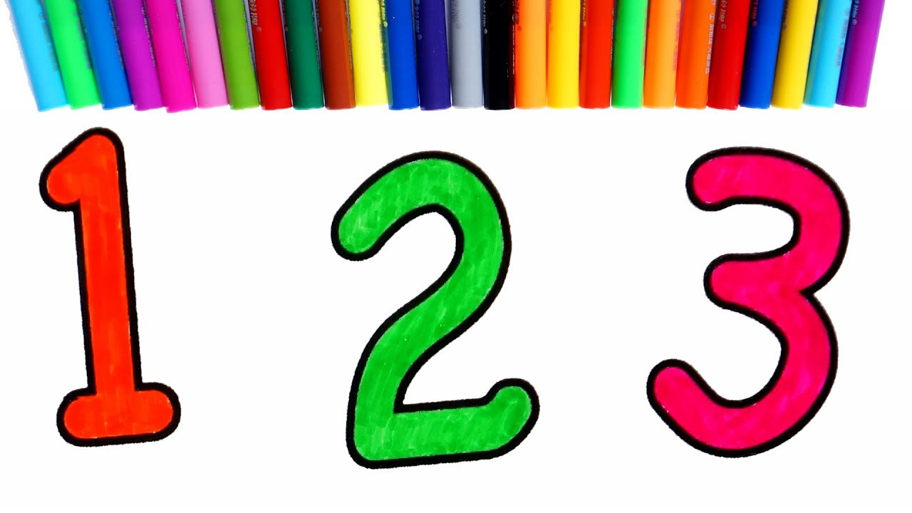 Number Coloring Pages | Learning Numbers and Colors for Kids - YouTube