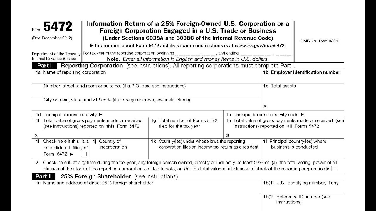 Form 5472 Info Return Of A 25 Foreign Owned Us Or Foreign Corp